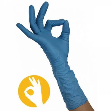 Nitril blauwe handschoenen met lange manchet