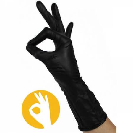 nitril handschoen zwart lange manchet