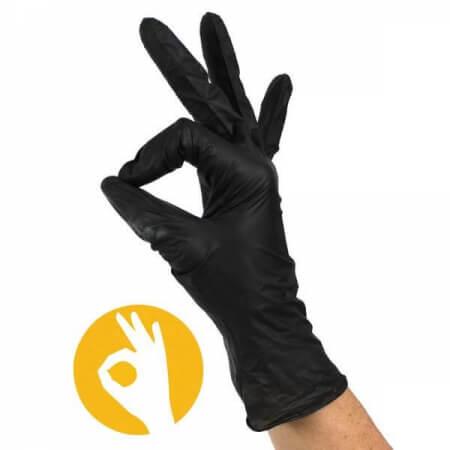 Stretch soft nitril handschoenen zwart poedervrij
