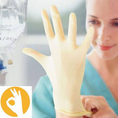 Latex poedervrije steriele handschoen