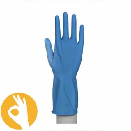 Blauwe latex huishoudhandschoen